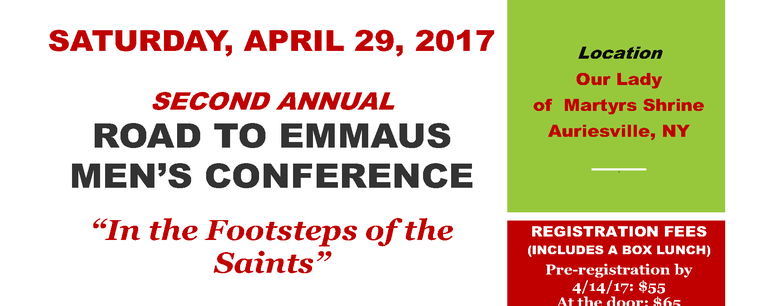 Men's Conference 2017 - Sponsored by the Roman Catholic Diocese of Albany Vocations Office